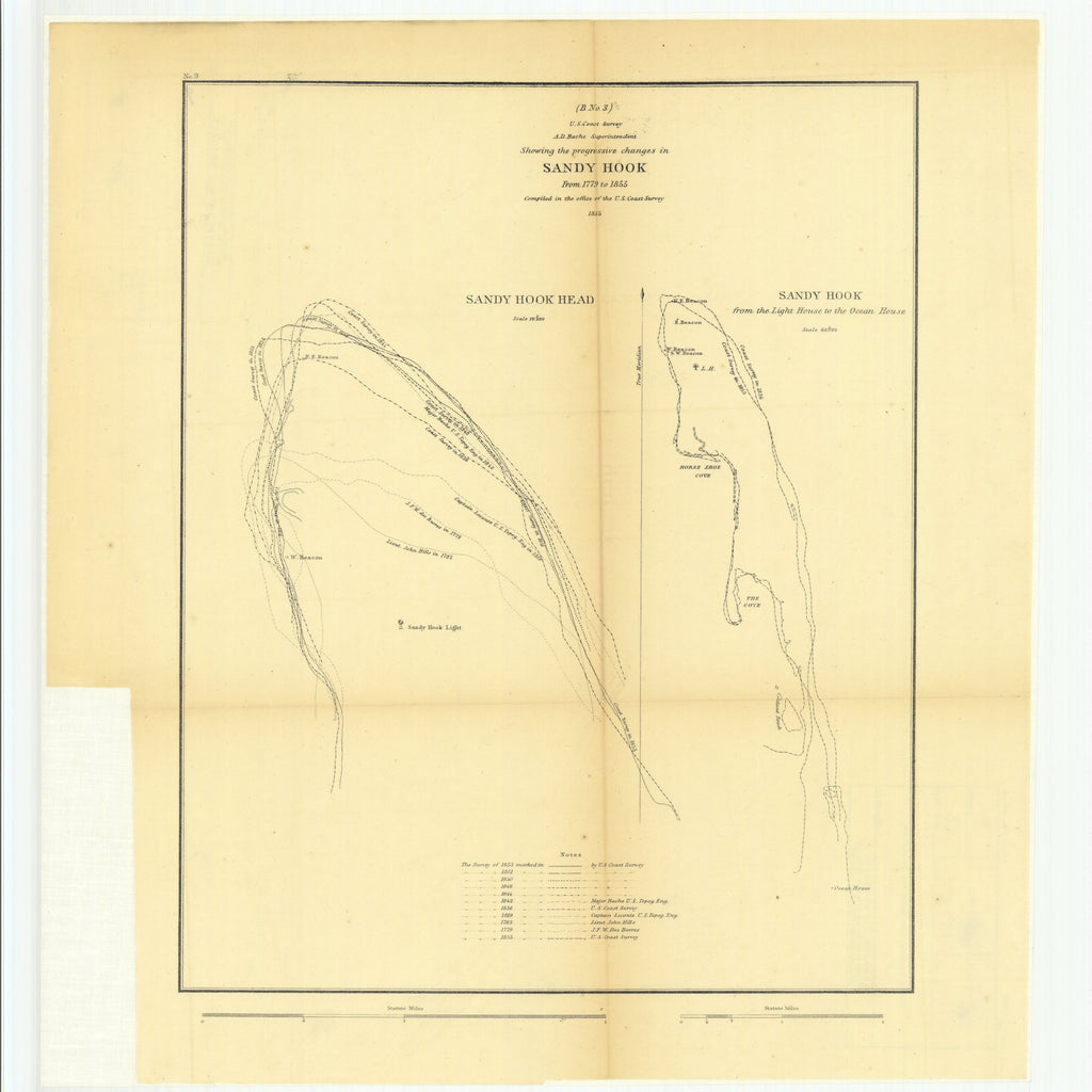18 x 24 inch 1855 US old nautical map drawing chart of Sketch B Number 3 Showing the Progressive Changes in Sandy Hook from 1779 to 1855 with Sandy Hook from the Light House to the Ocean House From  U.S. Coast Survey x6077