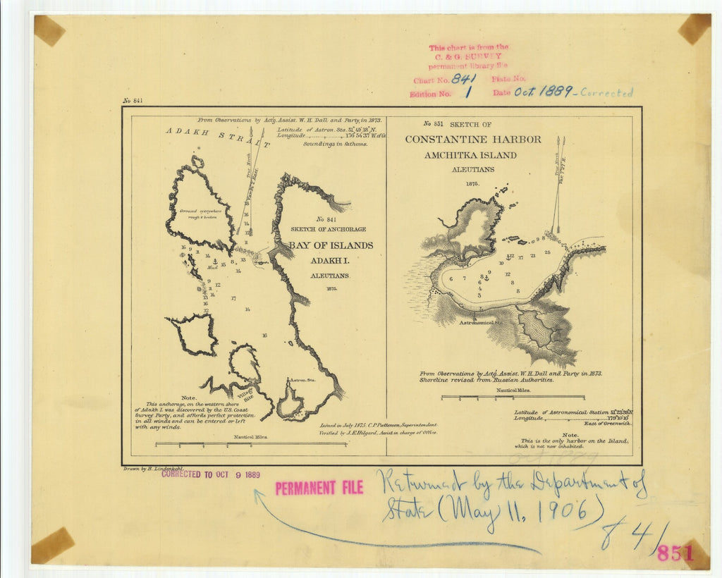18 x 24 inch 1889 US old nautical map drawing chart of Bay of Islands and Constantine Harbor From  US Coast & Geodetic Survey x882