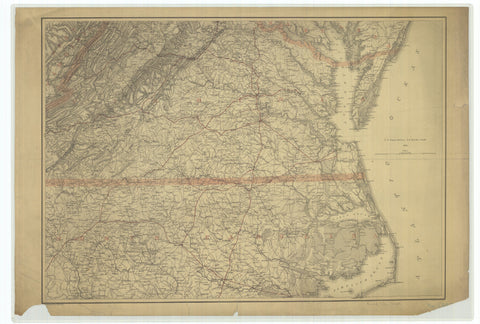 18 x 24 inch 1865 North Carolina old nautical map drawing chart of Civil War Map From  U.S. Coast Survey x7858