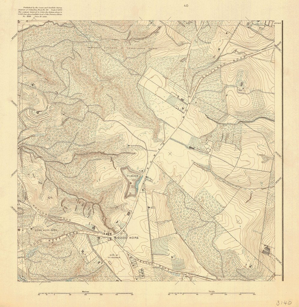 18 x 24 inch 1895 US old nautical map drawing chart of GOOD HOPE ROAD From  US Coast & Geodetic Survey x715