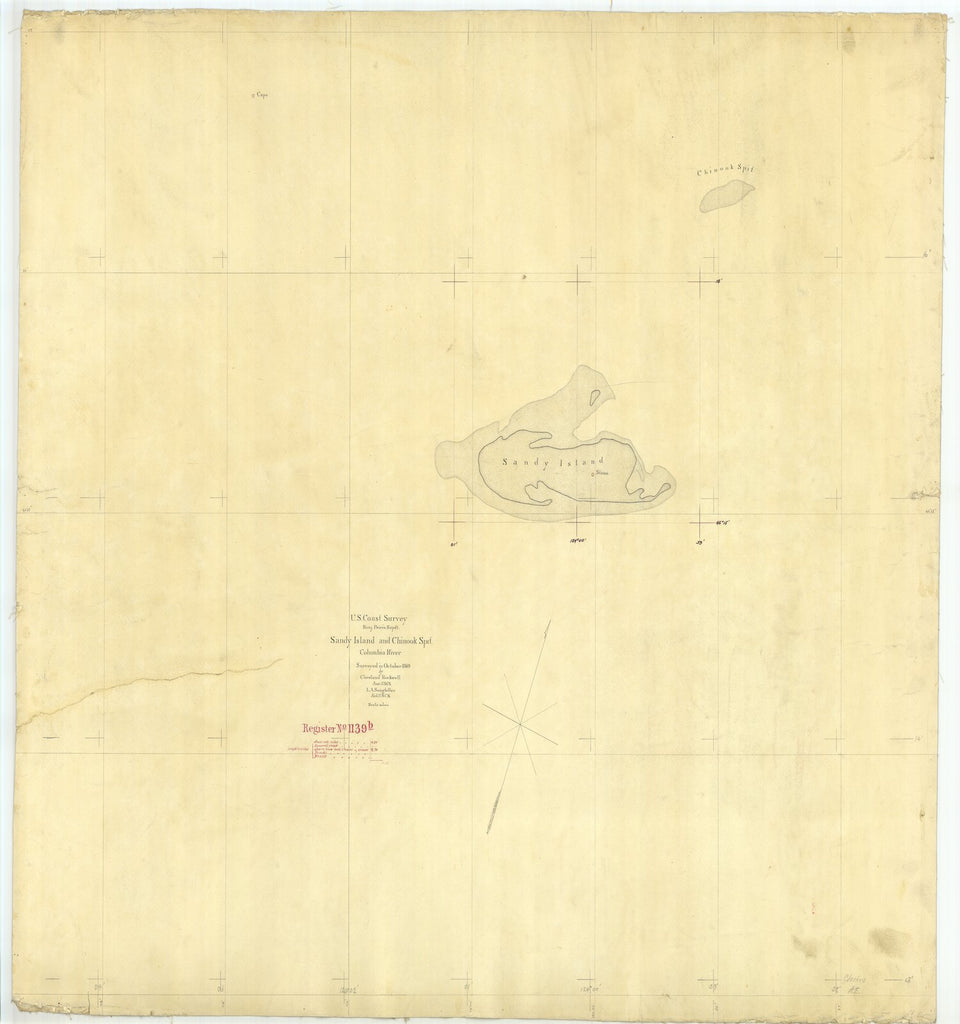 18 x 24 inch 1869 Oregon old nautical map drawing chart of Sandy Island and Chinook Point Columbia River From  U.S. Coast Survey x6508