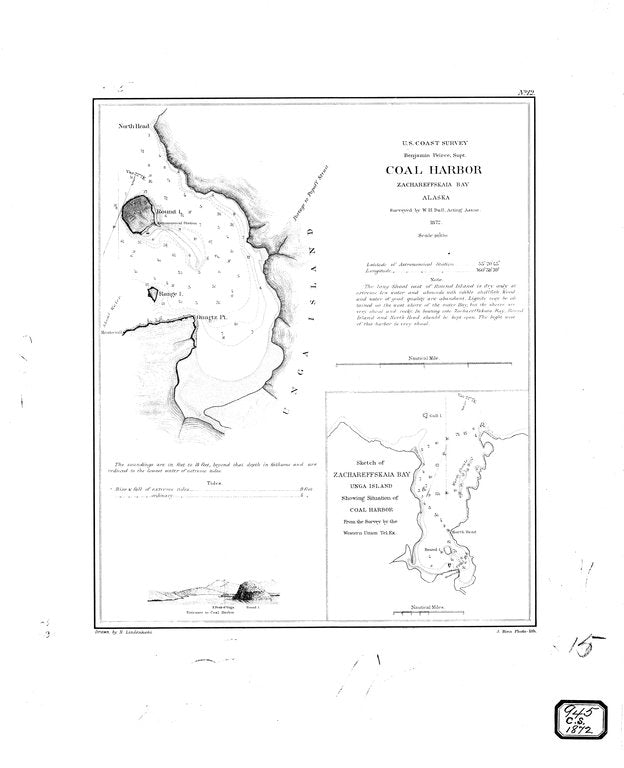 18 x 24 inch 1872 US old nautical map drawing chart of Coal Harbor & Zachareffskaia Bay From  U.S. Coast Survey x503