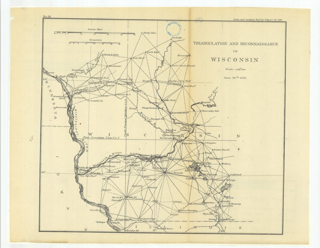 18 x 24 inch 1881 US old nautical map drawing chart of Triangulation and Reconnaissance in Wisconsin From  US Coast & Geodetic Survey x1564