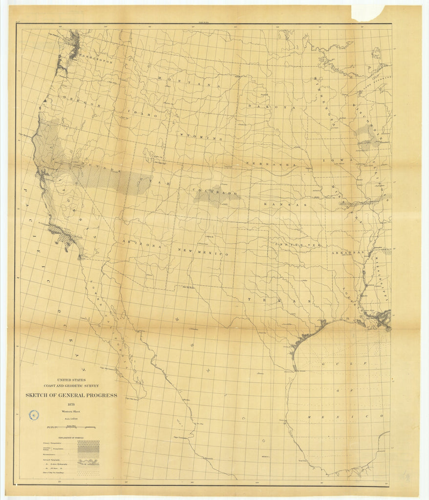 18 x 24 inch 1878 US old nautical map drawing chart of Sketch of General Progress, Western Sheet From  US Coast & Geodetic Survey x1845
