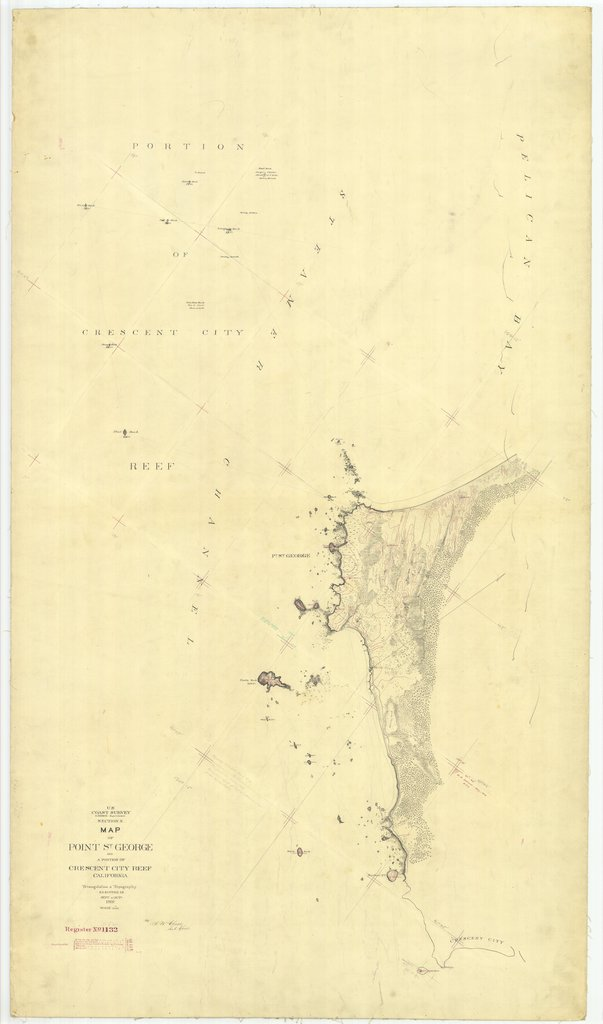 18 x 24 inch 1869 US old nautical map drawing chart of Map of Point St. George and a portion of Crescent City Reef From  U.S. Coast Survey x1698