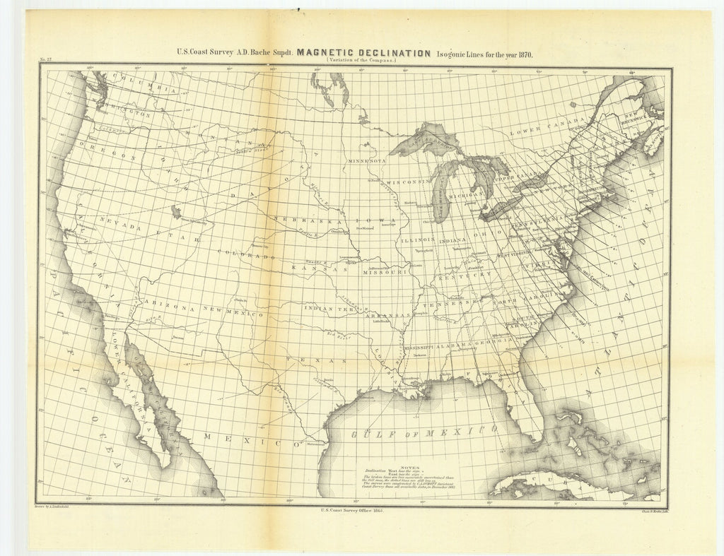 18 x 24 inch 1870 US old nautical map drawing chart of Magnetic Declination, Variation of the Compass, Isogonic Lines for the Year 1870 From  U.S. Coast Survey x924