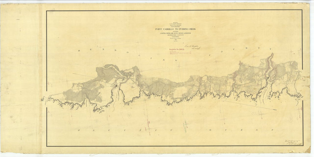 18 x 24 inch 1873 US old nautical map drawing chart of Point Cabrillo to Pudding Creek From  U.S. Coast Survey x467