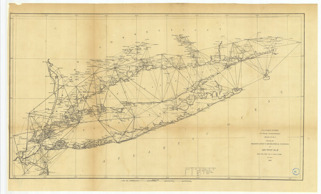 18 x 24 inch 1869 New York old nautical map drawing chart of Sketch B Number 2 Showing the Triangulation and Geographical Positions in Section Number 2 from New York City to Point Judith From  U.S. Coast Survey x7678