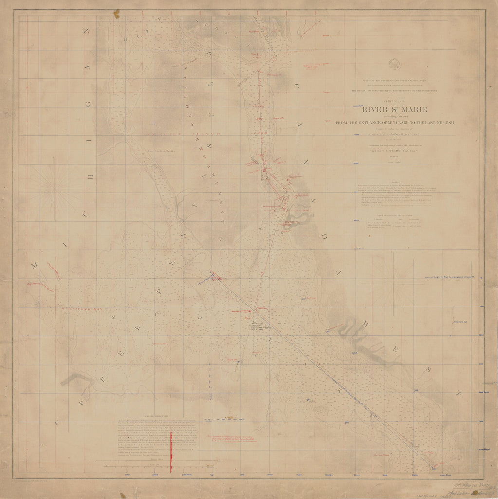 18 x 24 inch 1858 US old nautical map drawing chart of RIVER STE MARIE INCLUDING THE PART FROM THE ENTRANCE OF MUD LAKE TO THE EAST NEEBISH From  U.S. Lake Survey x3652