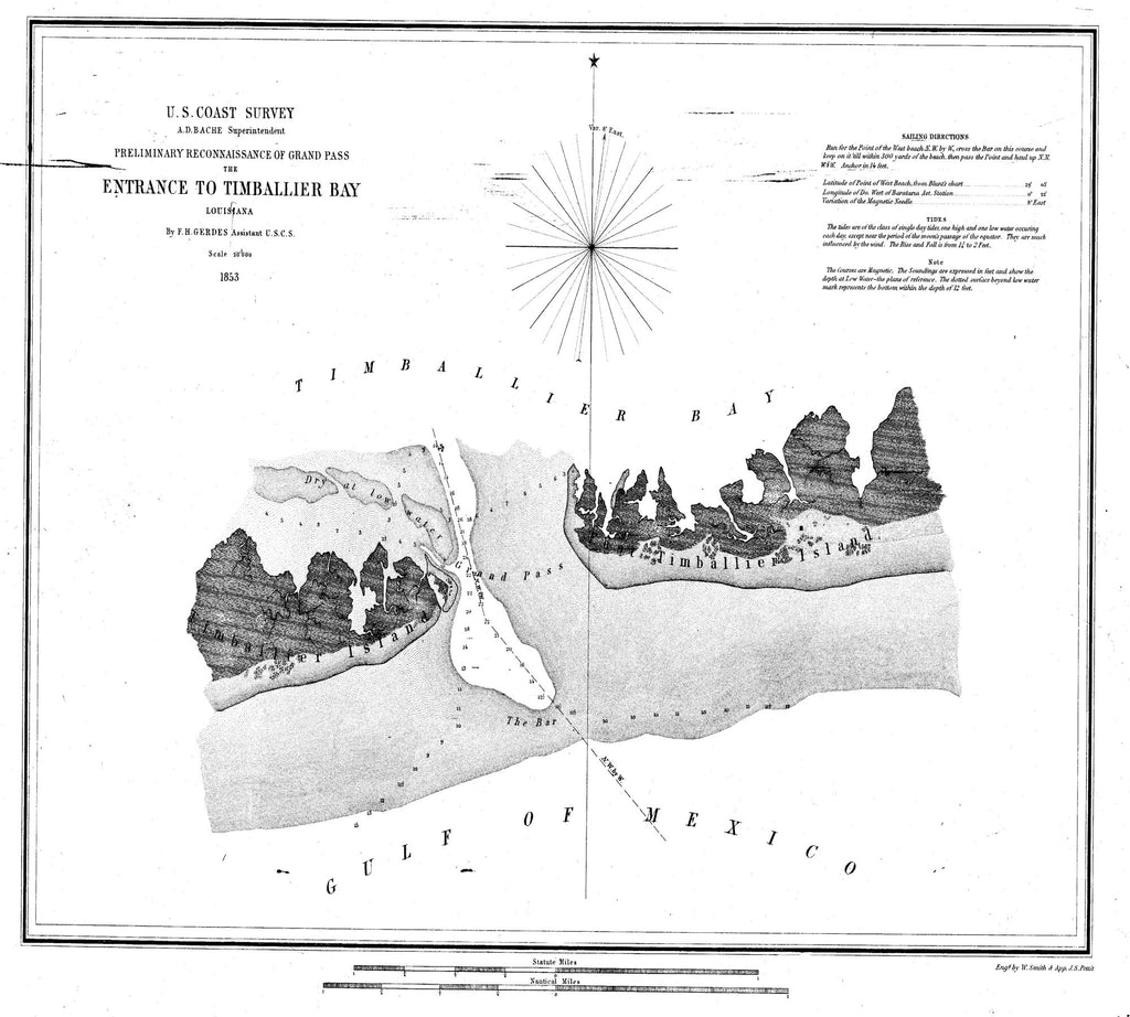 18 x 24 inch 1853 US old nautical map drawing chart of Preliminary Reconnaissance of the Entrance to Timballier bay From  U.S. Coast Survey x2015