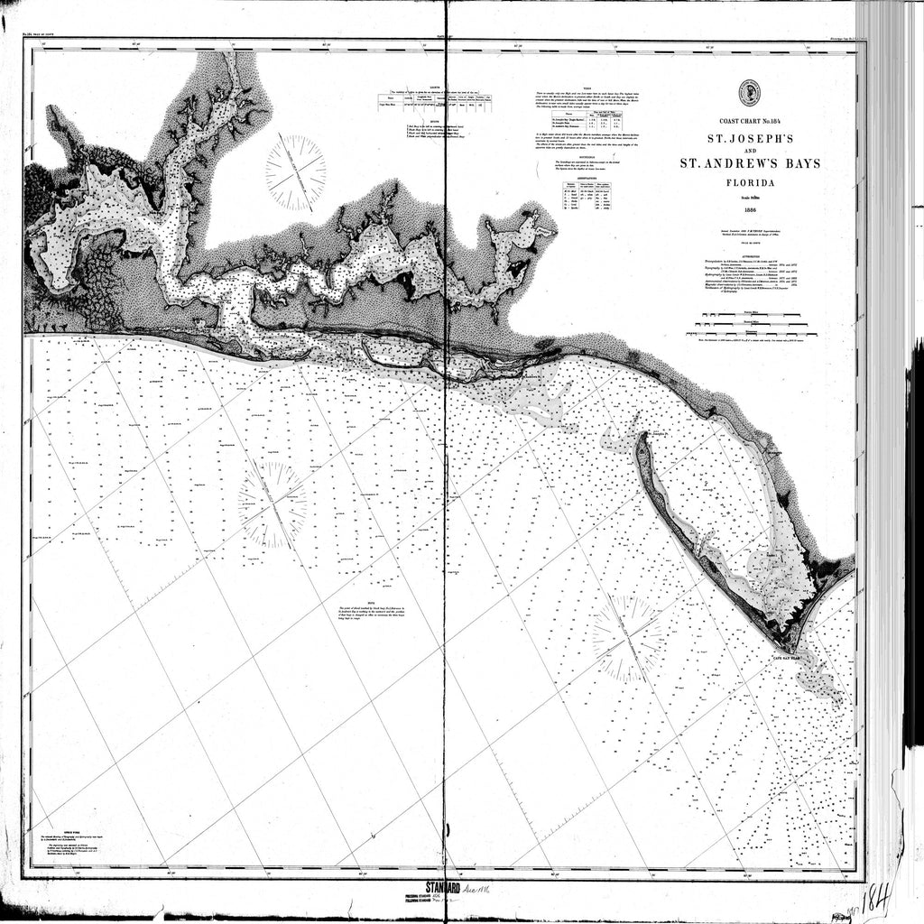 18 x 24 inch 1886 US old nautical map drawing chart of St. Andrew's Bay & St. Joseph's Bay From  NOAA x2129