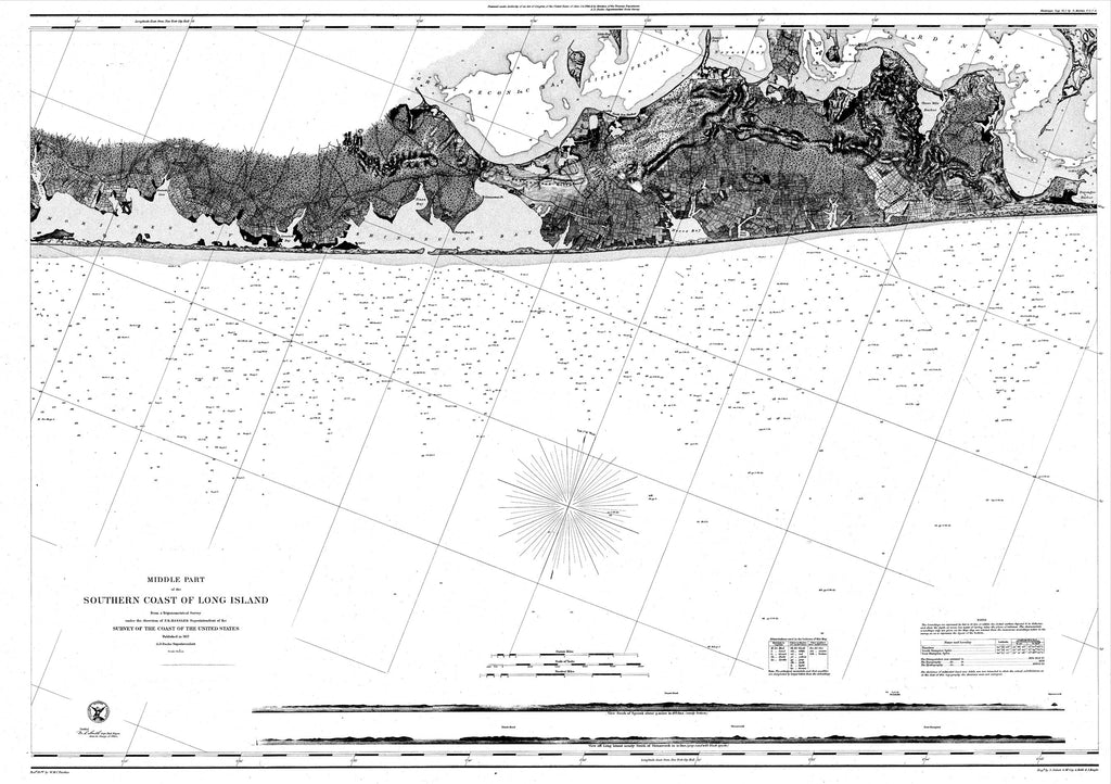 18 x 24 inch 1857 New York old nautical map drawing chart of Navigation Chart for the Middle Part of the Southern Coast of Long Island From  U.S. Coast Survey x7040