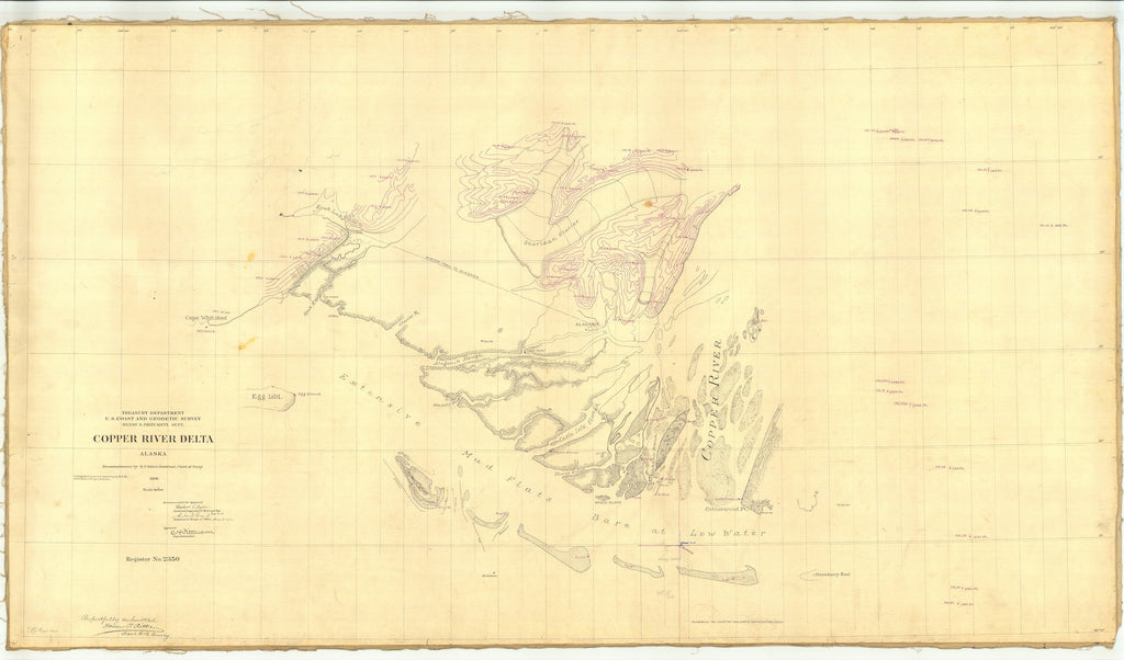 18 x 24 inch 1898 US old nautical map drawing chart of Copper River Delta Alaska From  US Coast & Geodetic Survey x2161