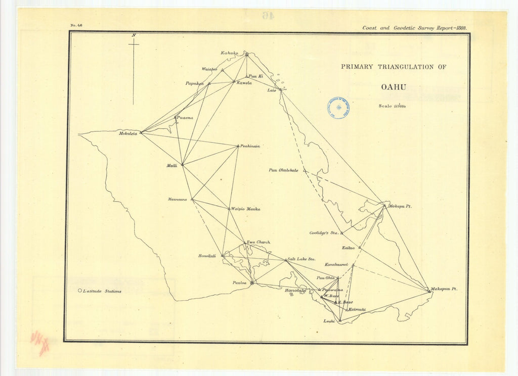 18 x 24 inch 1888 US old nautical map drawing chart of Primary triangulation of Oahu From  US Coast & Geodetic Survey x1217