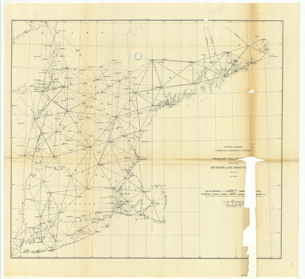 18 x 24 inch 1881 New Hampshire old nautical map drawing chart of Primary Triangulation Between the Hudson and St. Croix Rivers with Progress of the Survey of Lake Champlain From  US Coast & Geodetic Survey x7584