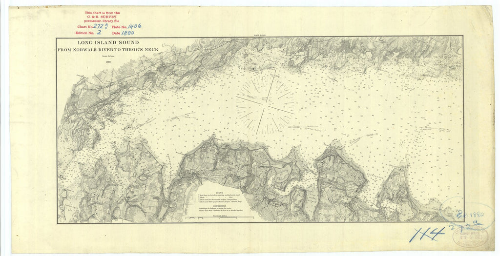 18 x 24 inch 1880 New York old nautical map drawing chart of Long Island Sound From Norwalk River to Throg's Neck From  U.S. Coast Survey x7088