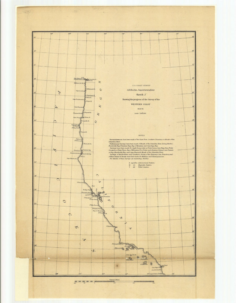 18 x 24 inch 1851 California old nautical map drawing chart of Sketch J Showing the Progress of the Survey of the Western Coast From  U.S. Coast Survey x10999