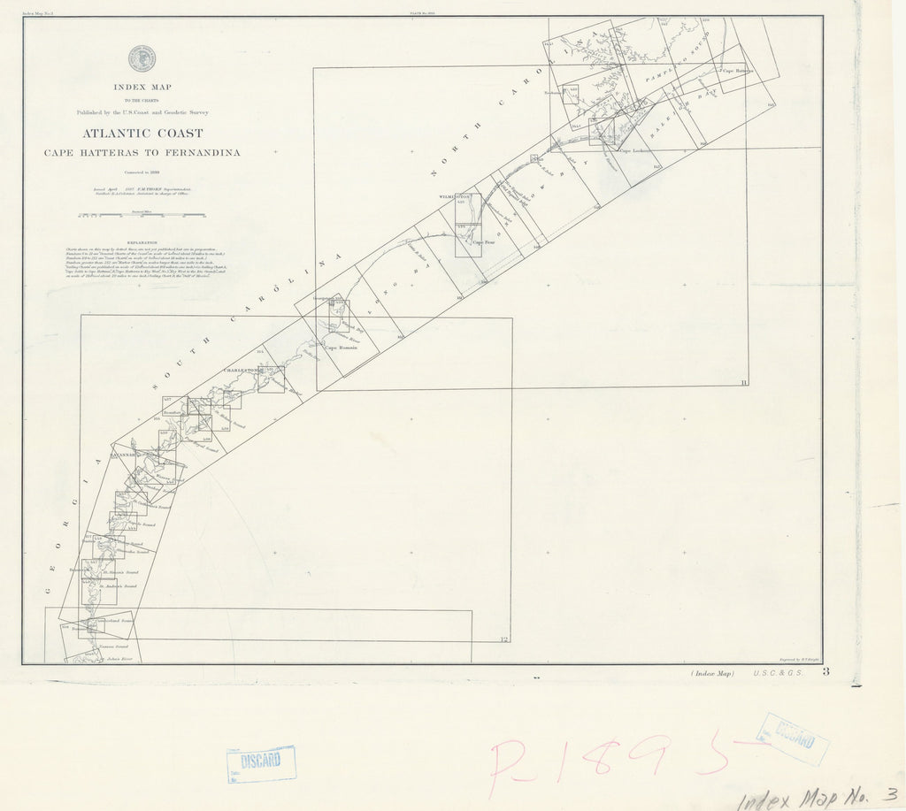 18 x 24 inch 1887 US old nautical map drawing chart of INDEX MAP ATLANTIC COAST CAPE HATTERAS TO FERNANDINA From  C&GS x1009
