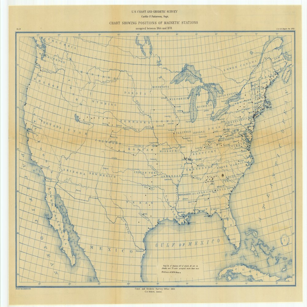 18 x 24 inch 1880 US old nautical map drawing chart of Chart Showing Positions of Magnetic Stations Occupied Between 1844 and 1878 From  US Coast & Geodetic Survey x68