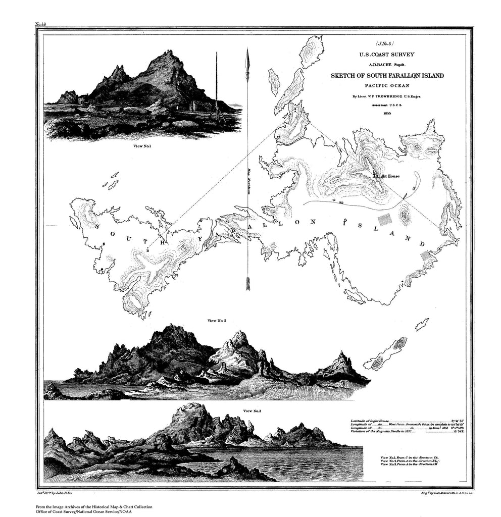 18 x 24 inch 1855 California old nautical map drawing chart of Sketch of South Farallon Island, Pacific Ocean From  NOAA x7401