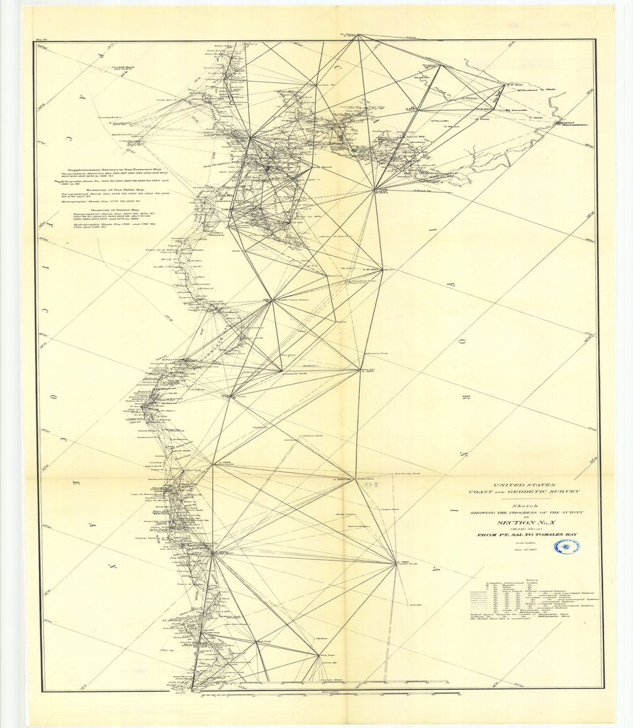 18 x 24 inch 1889 Texas old nautical map drawing chart of Triangulation, topography, and hydrography, Aransas Pass, Texas From  US Coast & Geodetic Survey x11740