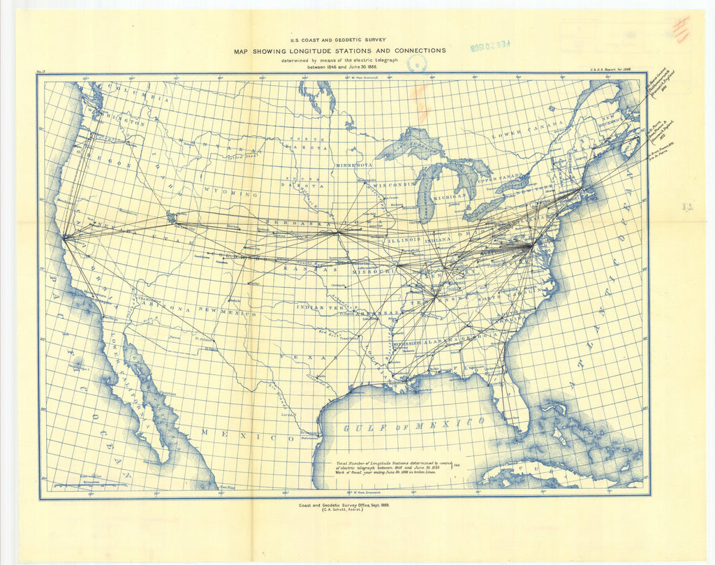 18 x 24 inch 1888 USA old nautical map drawing chart of Map showing longitude stations and connections, determined by means of the electric telegraph between 1846 and 1888 From  US Coast & Geodetic Survey x12124