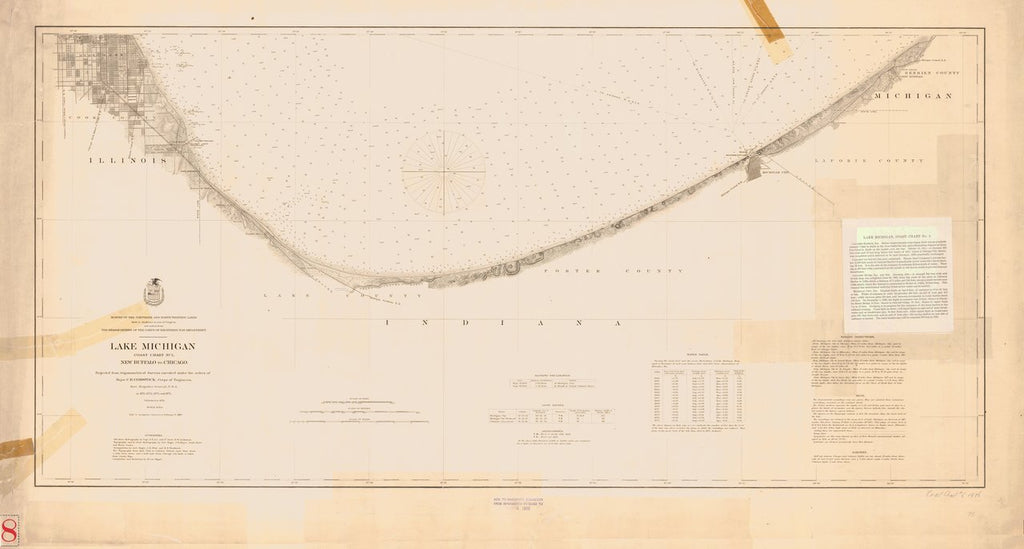 18 x 24 inch 1892 US old nautical map drawing chart of LAKE MICHIGAN From  Lake Survey x1543