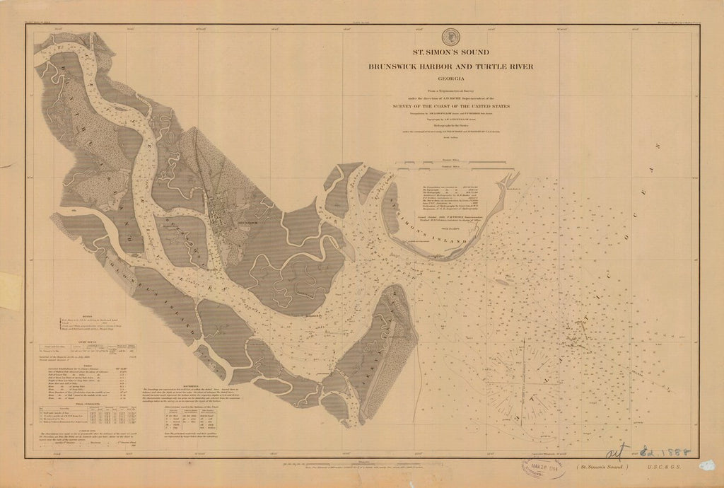 18 x 24 inch 1888 US old nautical map drawing chart of St. Simon's Sound Brunswick Harbor and Turtle River From  US Coast & Geodetic Survey x571