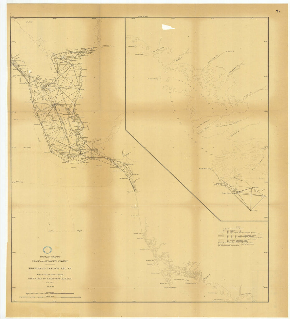18 x 24 inch 1884 US old nautical map drawing chart of Progress Sketch, Section 6, West Coast of Florida, Cape Sable to Charlotte Harbor From  US Coast & Geodetic Survey x2564