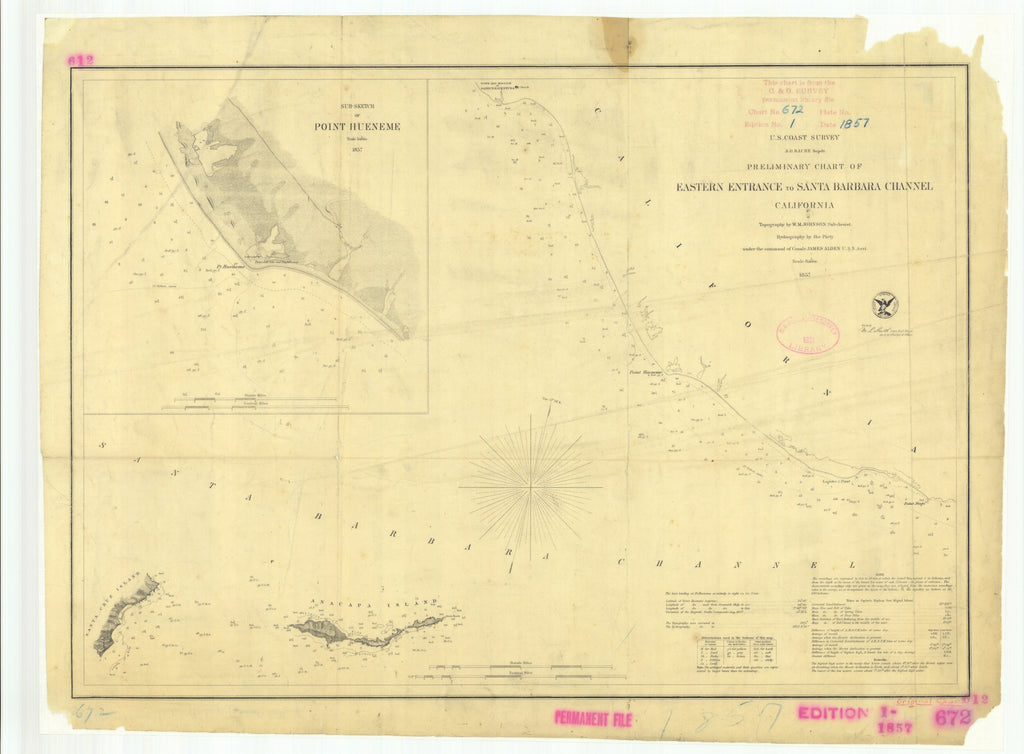 18 x 24 inch 1857 California old nautical map drawing chart of Preliminary Chart of Eastern Entrance to Santa Barbara Channel CA From  U.S. Coast Survey x7406
