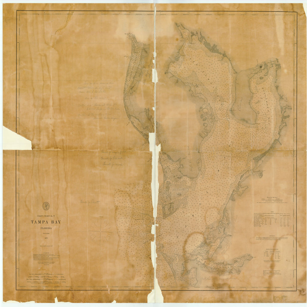 18 x 24 inch 1883 US old nautical map drawing chart of TAMPA BAY, FLORIDA From  US Coast & Geodetic Survey x2113