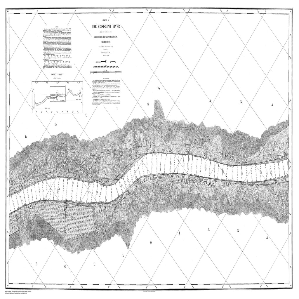 18 x 24 inch 1871 US old nautical map drawing chart of Survey of the Mississippi River From  Mississippi River Commission x2303