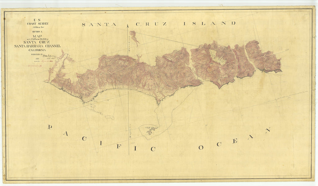 18 x 24 inch 1860 US old nautical map drawing chart of Part of the Island of Santa Cruz, CA From  U.S. Coast Survey x1681