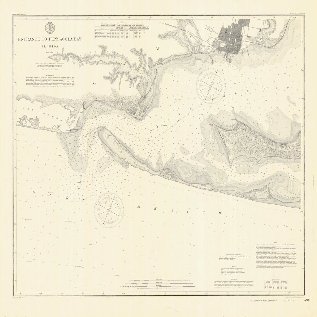 18 x 24 inch 1859 US old nautical map drawing chart of ENTRANCE TO PENSACOLA BAY From  US Coast & Geodetic Survey x1342