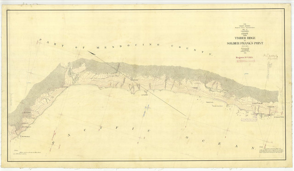 18 x 24 inch 1875 US old nautical map drawing chart of Coast From Timber Ridge to Soldier Frank's Point From  U.S. Coast Survey x495