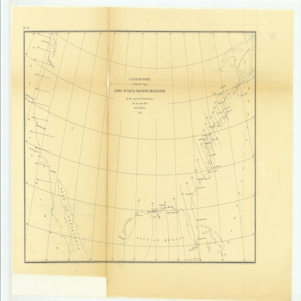 18 x 24 inch 1855 US old nautical map drawing chart of Lines of Equal Magnetic Declination on the Coast of the United States for the year 1850. From  U.S. Coast Survey x6000