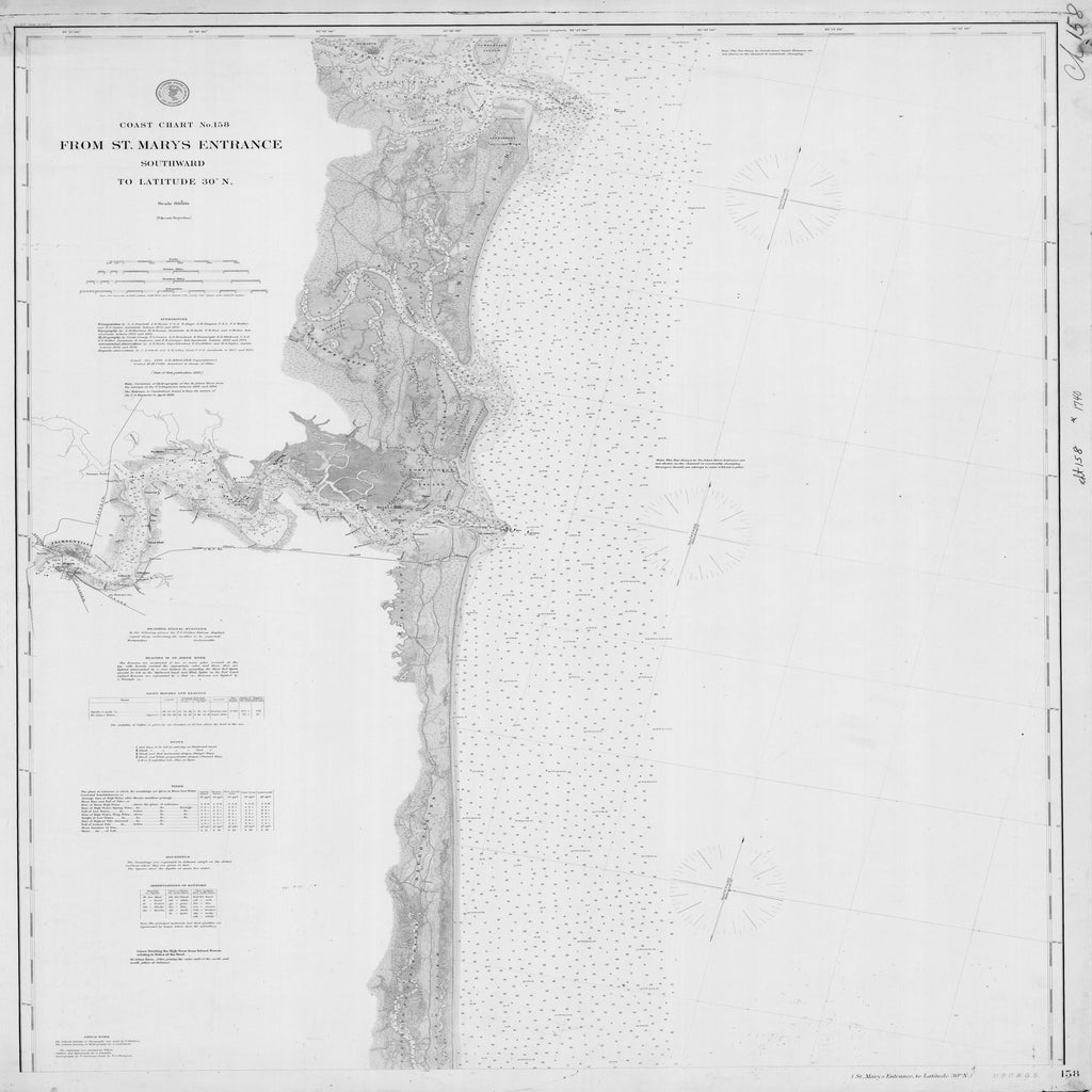 18 x 24 inch 1895 US old nautical map drawing chart of ST MARYS ENTRANCE TO LATITUDE 30 N From  NOAA x2482