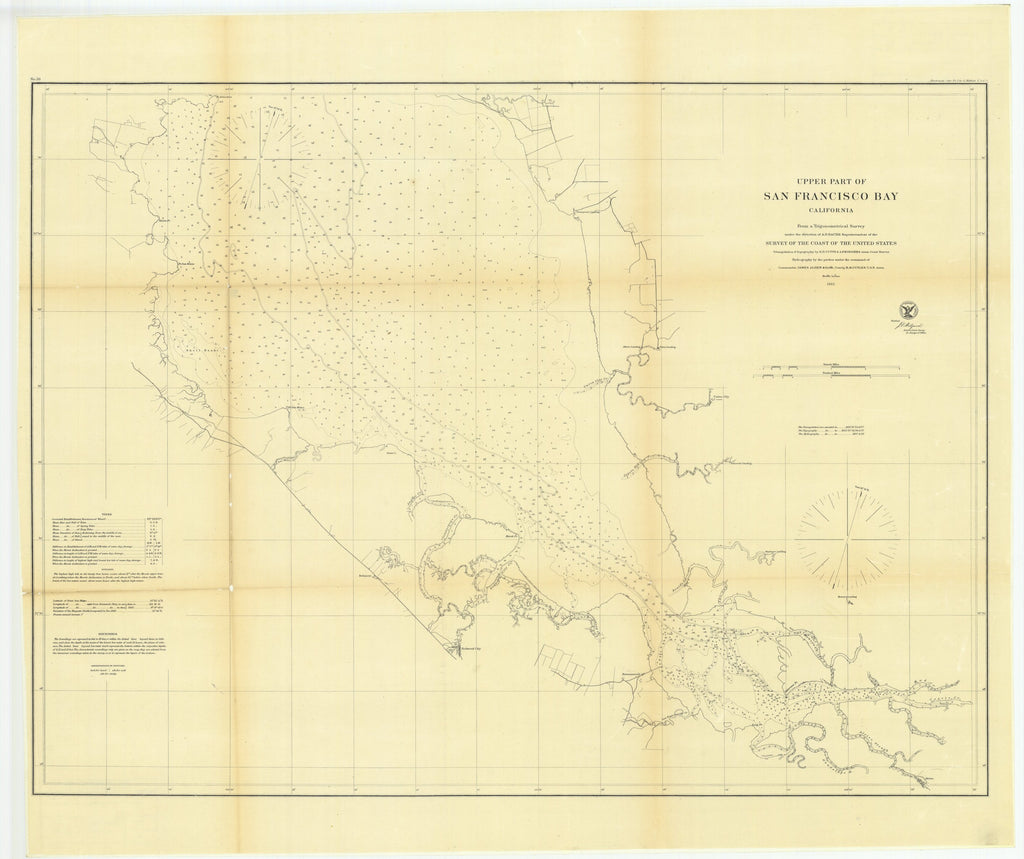 18 x 24 inch 1862 California old nautical map drawing chart of Upper Part of San Francisco Bay, California From  U.S. Coast Survey x7382