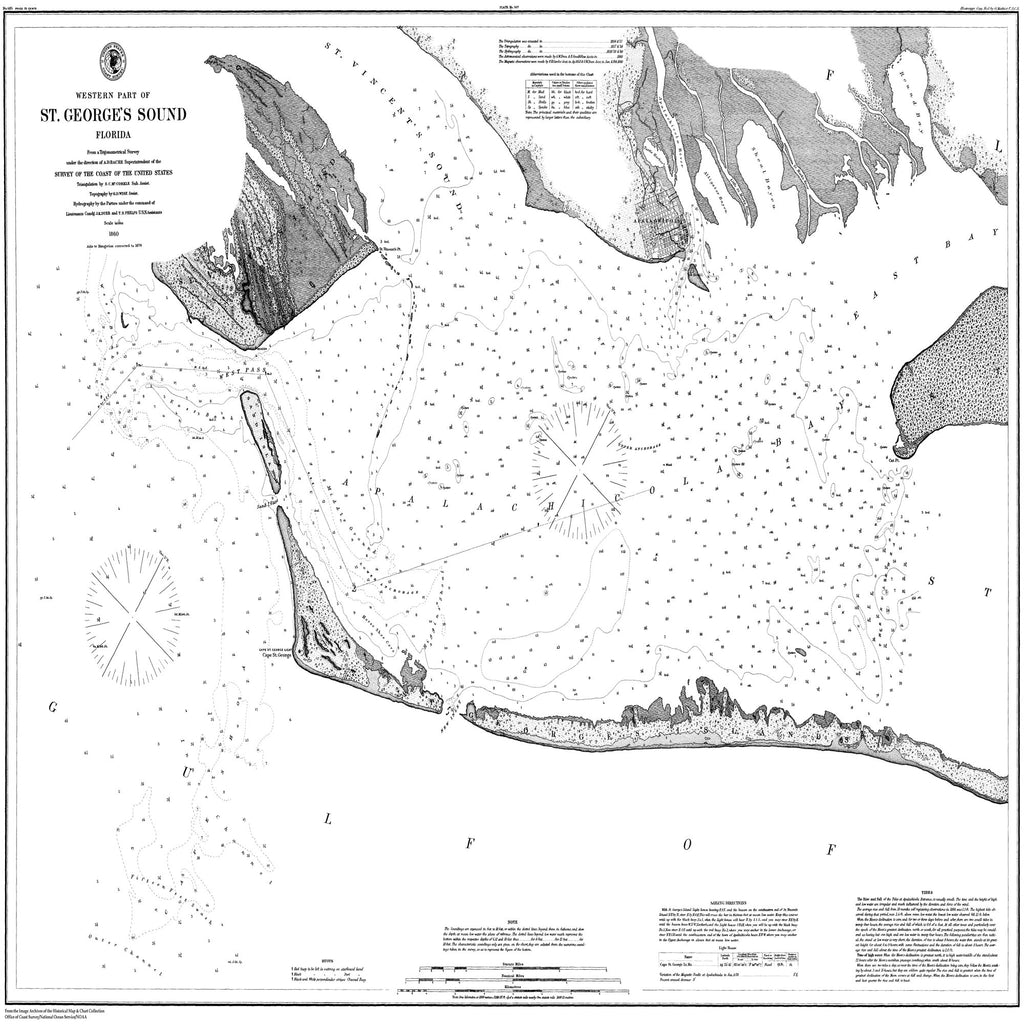 18 x 24 inch 1860 US old nautical map drawing chart of Western Part of St. George's Sound, Florida From  U.S. Coast Survey x1382