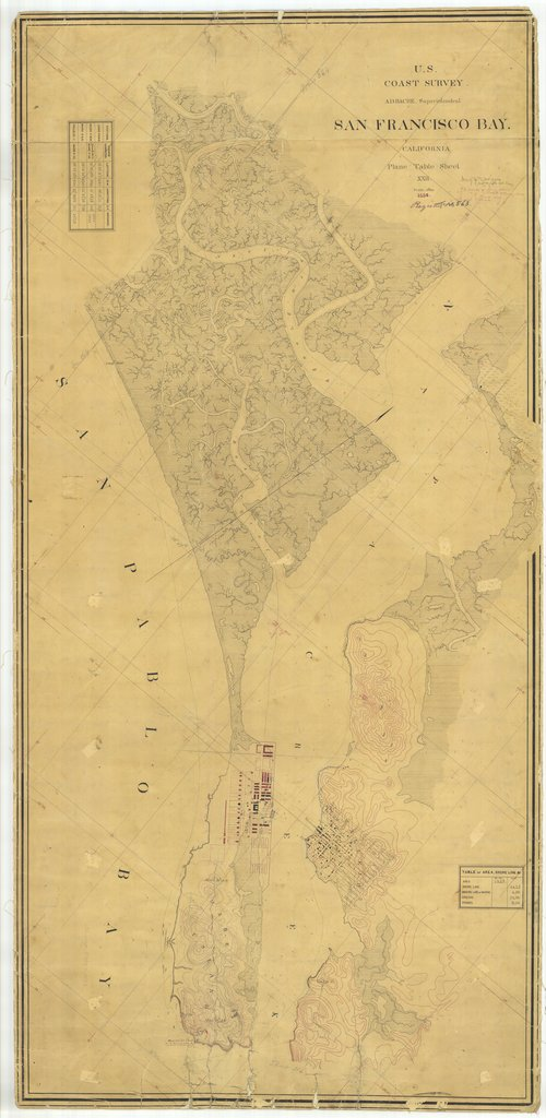 18 x 24 inch 1856 US old nautical map drawing chart of San Francisco Bay, California From  U.S. Coast Survey x1662
