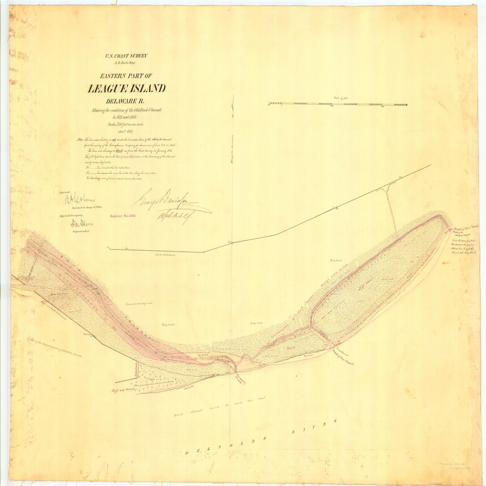 18 x 24 inch 1863 US old nautical map drawing chart of Eastern Part of League Island Delaware River Showing the conditions of the Old Back Channel in 1846 and 1863 From  U.S. Coast Survey x1070