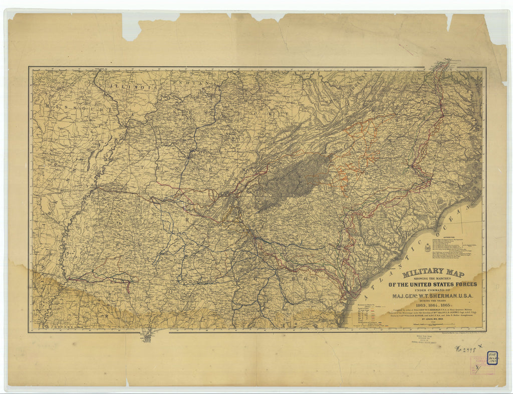 18 x 24 inch 1865 US old nautical map drawing chart of Military Map Showing the Marches of the United States Forces Under the Command of Major General W.T. Sherman U.S.A. During the Years 1863 1864 1865 From  U.S. Army Corps of Engineers x1573