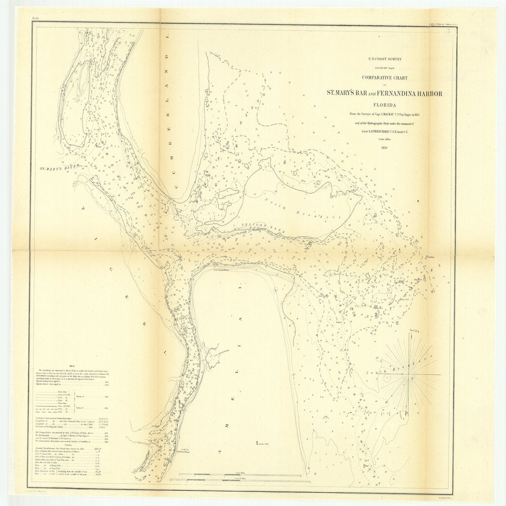 18 x 24 inch 1856 US old nautical map drawing chart of Comparative Chart of Saint Mary's Bar and Fernandina Harbor, Florida From  U.S. Coast Survey x1285
