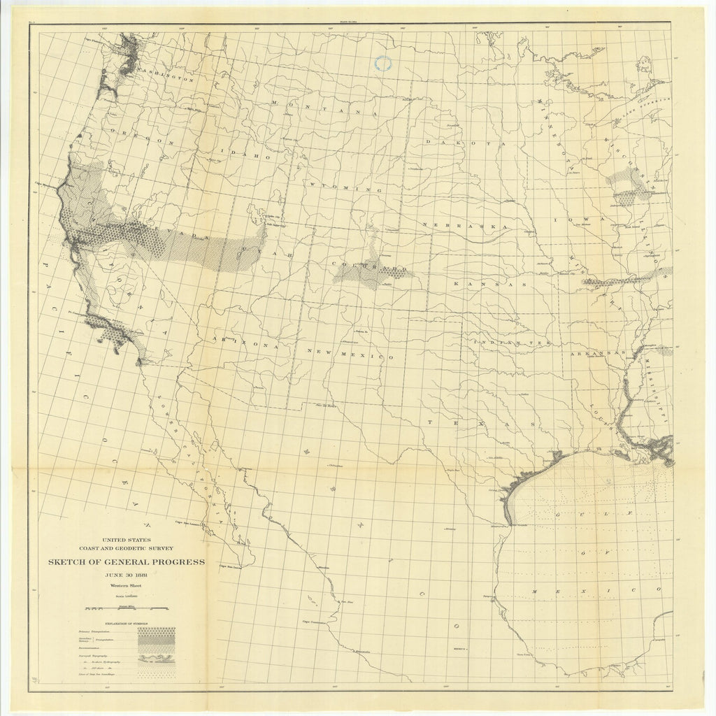 18 x 24 inch 1881 Texas old nautical map drawing chart of Sketch of General Progress, June 30, 1881, Western Sheet From  US Coast & Geodetic Survey x11919