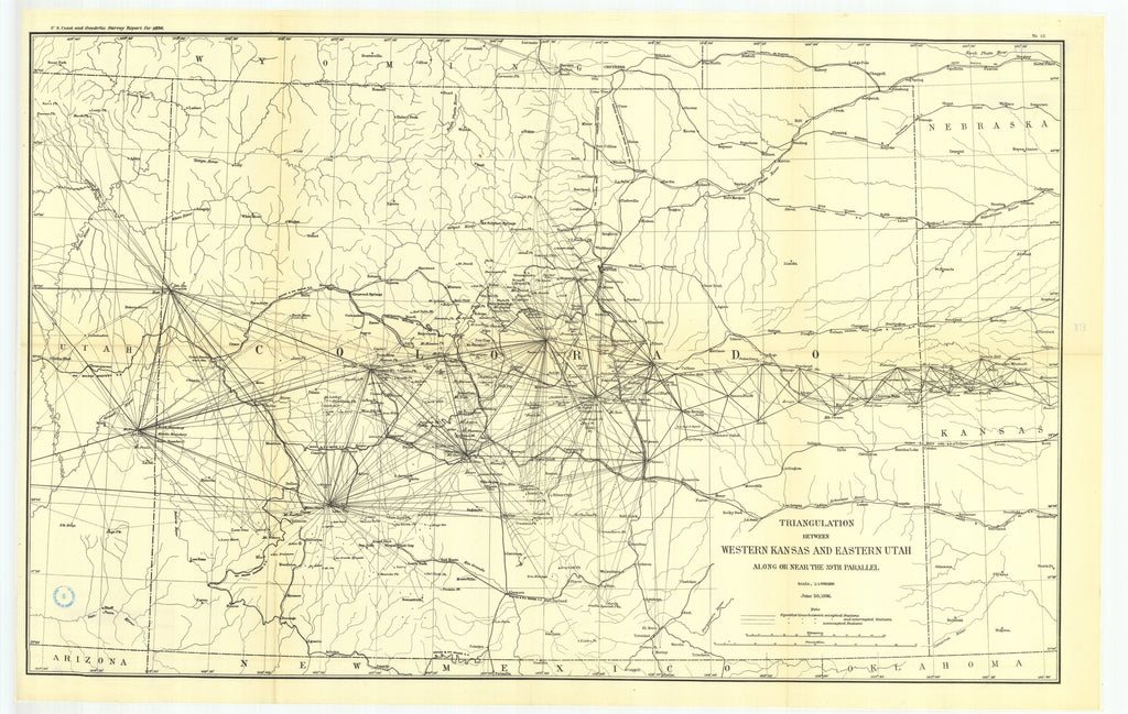18 x 24 inch 1896 US old nautical map drawing chart of 13. Triangulation between western Kansas and eastern Utah, along or near the thirty-ninth parallel. From  US Coast & Geodetic Survey x2660