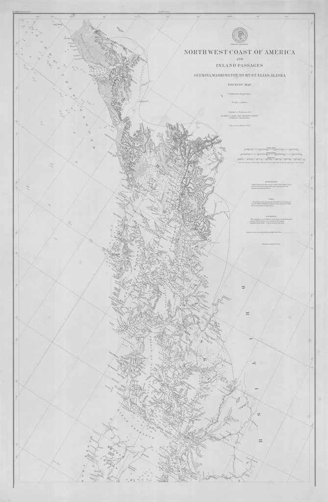 18 x 24 inch 1891 US old nautical map drawing chart of NORTHWEST COAST OF AMERICA AND INLAND PASSAGES OLYMPIA WASHINGTON TO MT ST ELIAS From  US Coast & Geodetic Survey x2180
