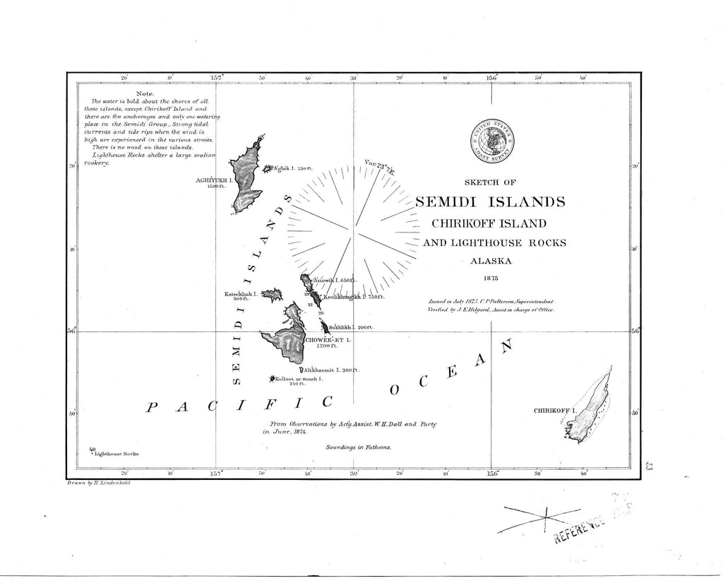 18 x 24 inch 1875 US old nautical map drawing chart of Sketch of Semidi Islands : Chirikoff Island and Lighthouse Rocks From  NOAA x2604