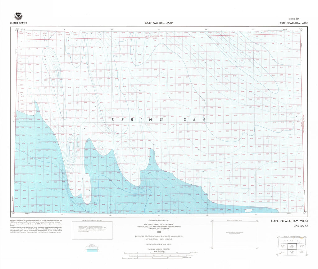 18 x 24 inch 1988 USA old nautical map drawing chart of CAPE NEWENHAM WEST From  NOAA x11993