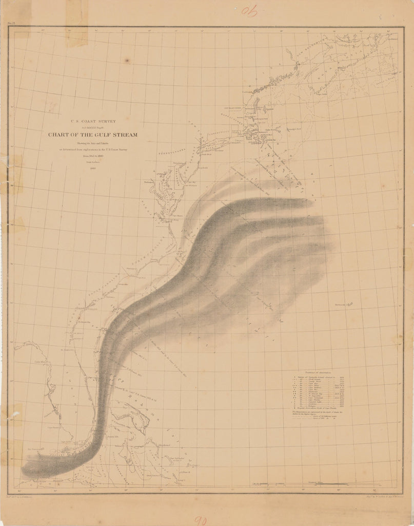 18 x 24 inch 1860 New Hampshire old nautical map drawing chart of CHART OF THE GULF STREAM From  U.S. Coast Survey x7604