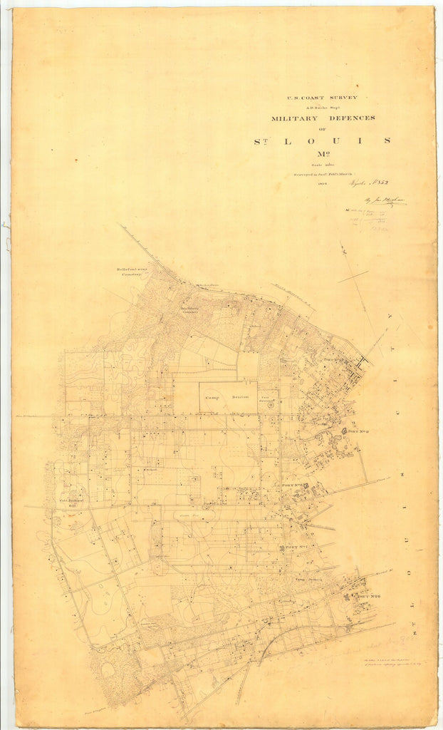 18 x 24 inch 1862 US old nautical map drawing chart of Military Defences of St. Louis From  U.S. Coast Survey x5119